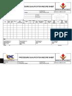 PROCEDURE QUALIFICATION RECORD SHEET