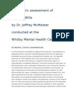 Psychiatric assessment of Richard Wills