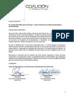 Aclaración de la Coalición del Sector Privado sobre borrador de carta enviado a Wanda Vázquez