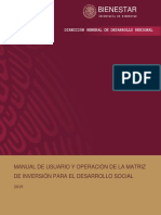 MANUAL DE USUARIO Y OPERACIÓN DE LA MATRIZ DE INVERSIÓN PARA EL DESARROLLO SOCIAL