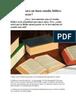 Elementos Para Un Buen Estudio Bíblico