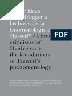 Tres críticas de Heidegger a Husserl - Ramsés - Sánchez-Soberano