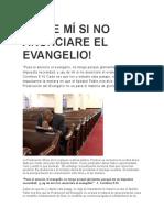 AY DE MÍ SI NO ANUNCIARE EL EVANGELIO