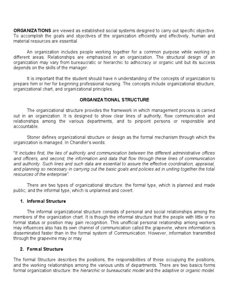 organic model of organization
