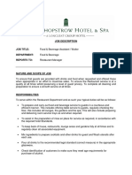 Assistant Waiter Job Description