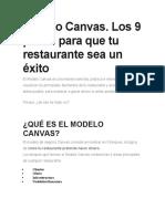 los 9 pasos modelo canvas restaurante