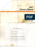 1987 Toyota MR2 Owners Manual