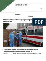 El coronavirus COVID-19 se puede parar- China lo ha demostrado | Noticias ONU