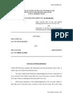 FORM 5 - NOTICE OF PROCEEDINGS (1)