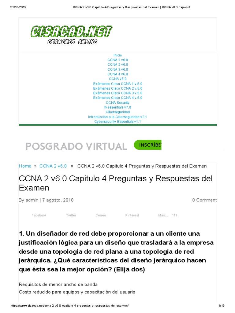 Capitulo 4 Preguntas Y Respuestas Del Examen Ccna V6 0 Espanol Conmutador De Red Certificaciones De Cisco