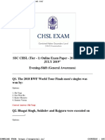 Chsl Tier 1 Papers General Awareness 11 July 2019 Evening Shift