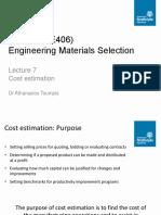 ME403 (Sem1) Lecture 7. Cost Estimation (1)