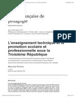 L'enseignement technique et la promotion scolaire et professionnelle sous la Troisième République