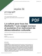 La culture pour tous les étudiants? Les usages sociaux et scolaires d'un instrument de démocratisation culturelle