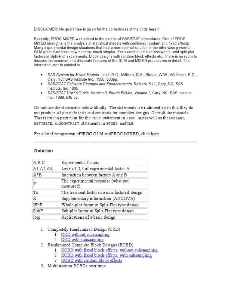 SAS Code for Some Experimental Design | Sas (Software) | Degrees Of