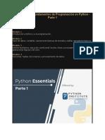 Bienvenido a Fundamentos de Programación en Python