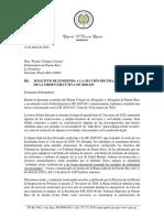 SOLICITUD DE ENMIENDA A LA SECCIÓN DÉCIMA, INCISO 15 DE LA ORDEN EJECUTIVA OE 2020-033