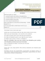 Gastos Públicos, classificação institucional e programática