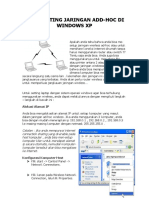 CARA SETTING JARINGAN ADD-HOC DI WINDOWS XP