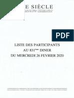 Le siècle - Liste des participants au 831ème diner du mercredi 26 février 2020.pdf