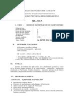Syllabus Gestion y mantenimiento de Equipo minero 2019 II.pdf
