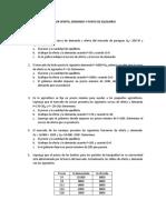 TALLER OFERTA, DEMANDA Y PUNTO DE EQUILIBRIO