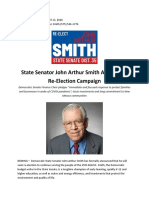 RELEASE State Senator John Arthur Smith Announces Re-Election Campaign