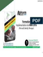 formation - admin securite - implementation de MIM 2016