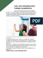 Cómo hacer una introducción para un trabajo académico