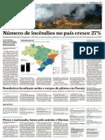 Número de incêndios no país cresce 27%