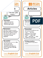 Grammar Practice Articles and Key