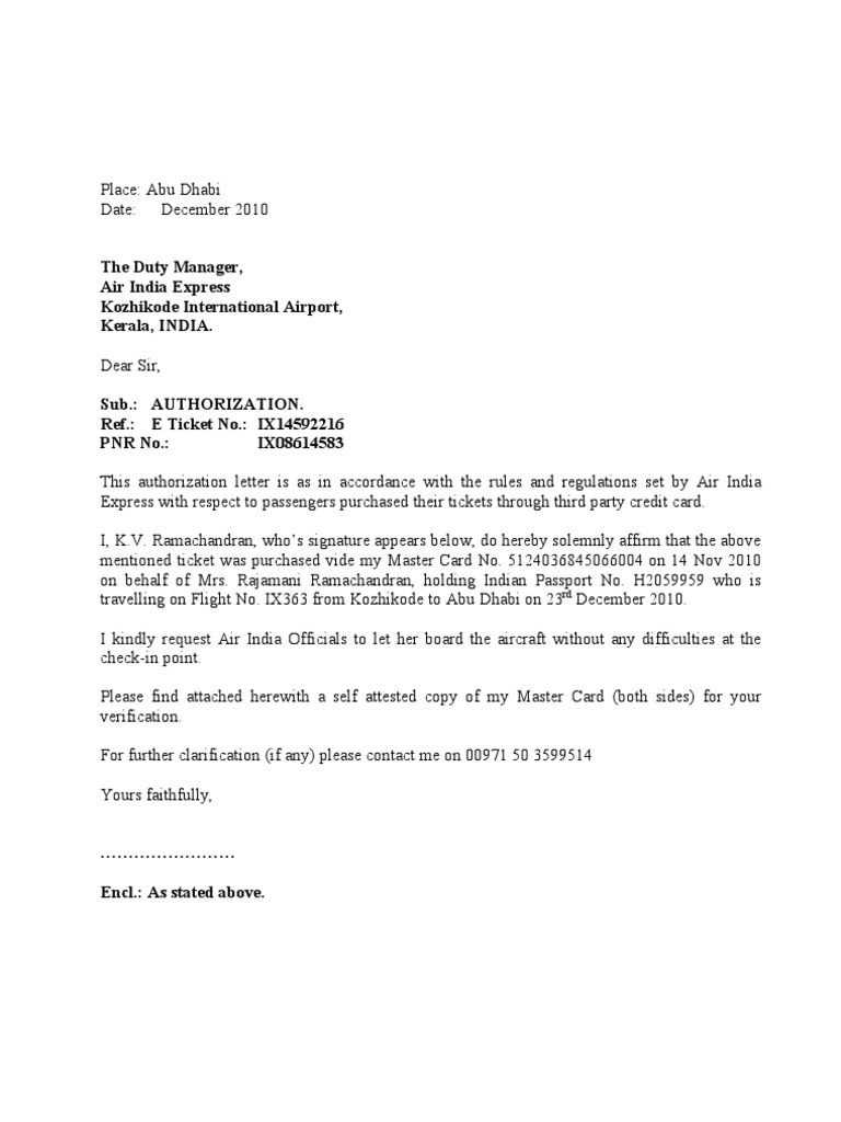 Authorization Letter to Air India – Credit Card Authorization Letter
