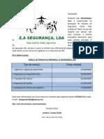 Tabela de preços da Z.A SEGURANÇA, LDA.(1)