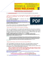 20200414-PRESS RELEASE Mr G. H. Schorel-Hlavka O.W.B. ISSUE – Re Walker J Denial of Religious Gatherings Unconstitutional, Etc