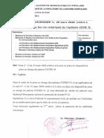 Instruction n° 05 du 28.03.2020 relative à la prise en charge des cas compliqués de l'épidémie COVID 19