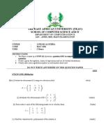 April 2019 Linear Algebra Question Paper