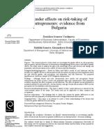 Gender effects & Risk Taking