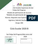 EJERCICIOS DE MAXIMIZACIÓN SIMPLEX ALEJANDRO JOAN ESPINOZA CHAPARRO