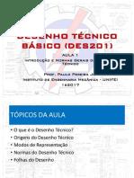 DES201Aula 1 - Introdução ao Desenho Técnico