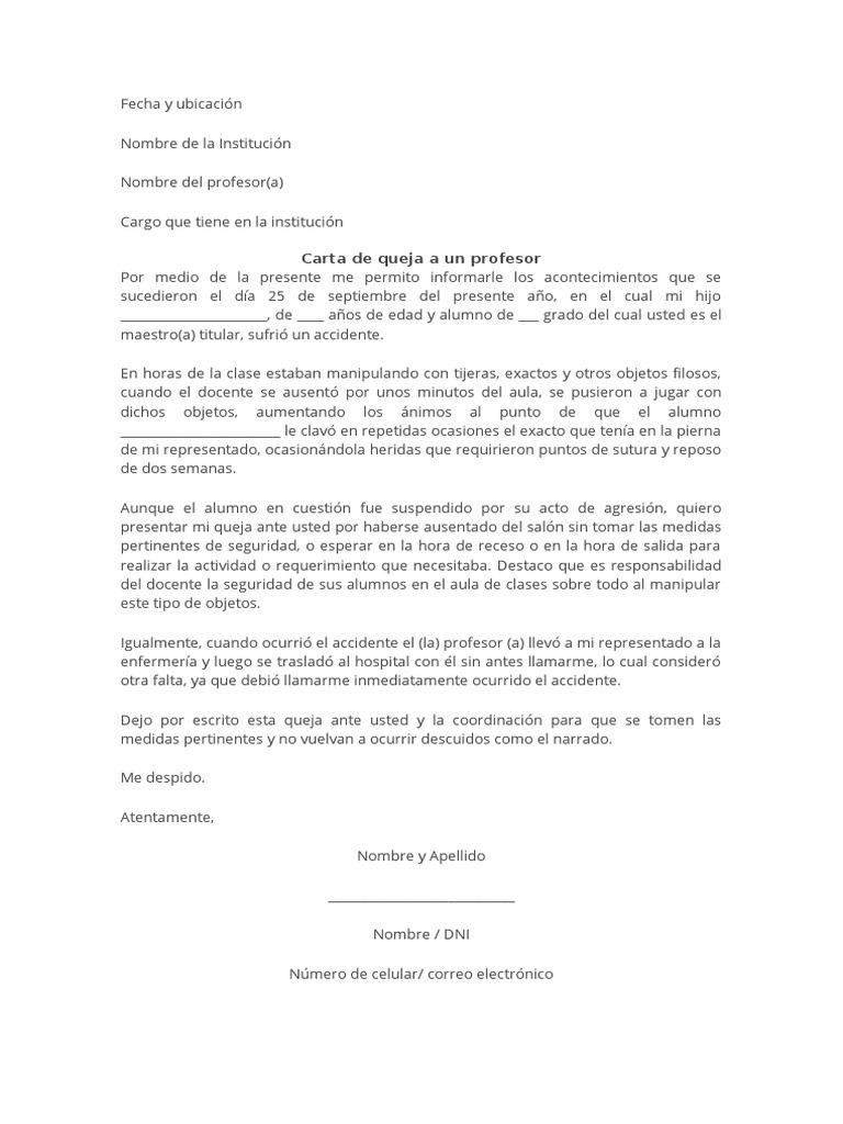 Modelo De Carta De Queja Del Representante A Un Profesor