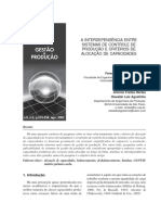 A interdependência entre sistemas de controle de produção e critérios de alocação de capacidades