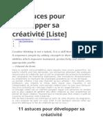 11 Astuces Pour Développer Sa Créativité