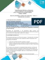 Guía de actividades y rúbrica de evaluación – Tarea  1-Introducción a la tarea