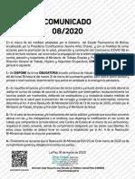 Comunicado 08-2020