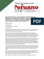 El Peruano - Decreto Supremo que declara en Emergencia Sanitaria a nivel nacional por el plazo de noventa (90) días calendario y dicta medidas de prevención y control del COVID-19 - DECRETO SUPREMO - N° 008-2020-SA - PODER EJE