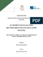 2018_TFG_El huerto escolar como recurso didáctico en Educación Infantil