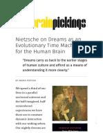 neitzche on dream as evolutionary time machine for the human brain