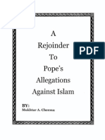 A Rejoinder to Pope's Allegations Against Islam by Mukhtar A. Cheema