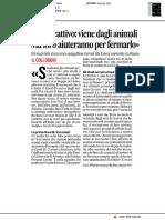 """""""Virus cattivo, viene dagli animali ma loro ci aiuteranno a eliminarlo"""" - Il Corriere Adriatico del 14 aprile 2020"""