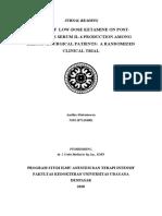 Telaah Jurnal Efek Ketamin Dosis Rendah Pada Produksi Il-6 Serum Pasca Operasi Di Elektif Pasien Bedah Uji Klinis Acak